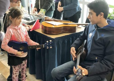 Photo of attendees of the Musical Instrument Petting Zoo at Lehigh Valley Arts Council's Young at Art Expo