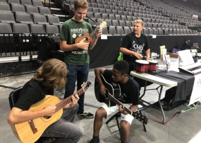 CMS students jam during the Musical Instrument Petting Zoo at Sen Pat Browne Expo