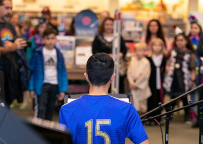 A student performs in the annual CMS Monster Concert at Barnes & Noble