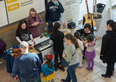 Attendees at the Musical Instrument Petting Zoo at Lehigh Valley Arts Council Young at the Lehigh Valley Arts Council's Young at Art Expo
