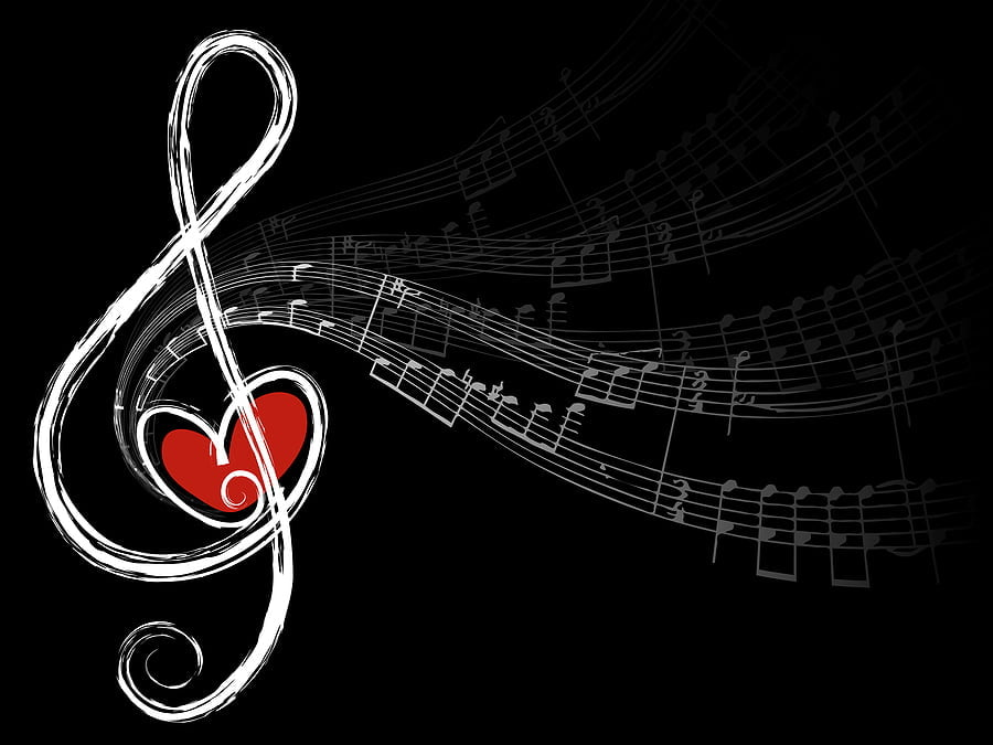 Treble Love And Music Notes (Vector)