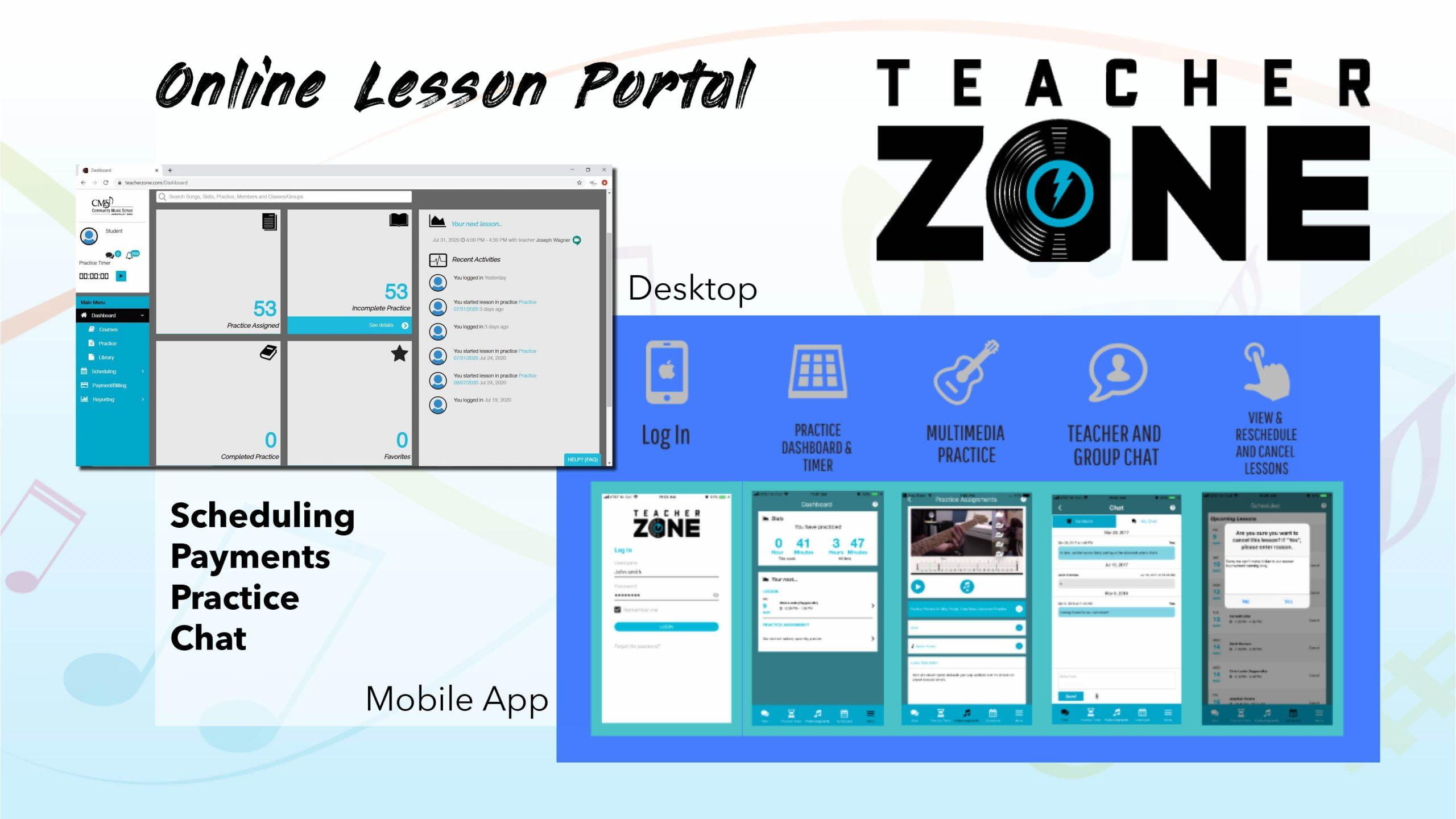 TeacherZone Community Music School lessons schedule app