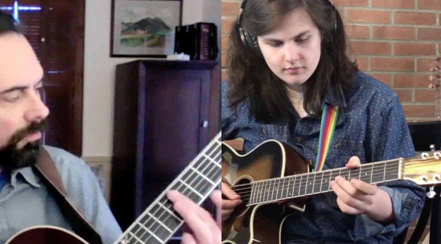 Joe Wager, guitar teacher, performs with student Zachary Rex on guitar during a virtual recital with Community Music School.